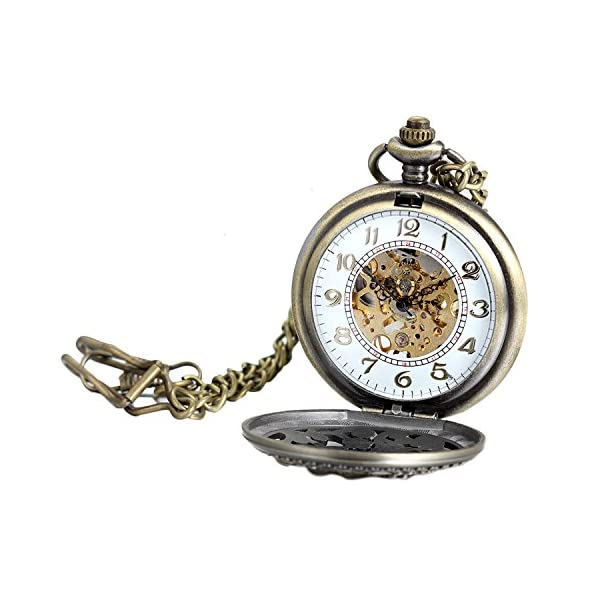 Avaner Steampunk Retro Half Hunter Copper Gear Skeleton Hand Wind Mechanical Roman/Arabic Numeral Analog Display Pocket… 5