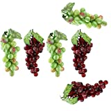 Yocome Realistic Artificial Fake Mixed Fruits Grapes Assortment Food Set for Home Kitchen Party Hotel Office Decor - Kids Play Games Learning - Set of 6
