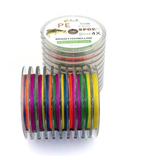 Maoko 100M / 110 Yards PE 4 Braided Line / Dyneema / Superline Fishing Line Assorted Colors For Sea Fishing / Fly Fishing / Bait Casting 15-80LB