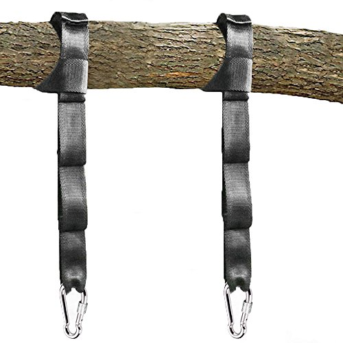 pys Tree Swing Straps Kit-Two Adjustable (20loops Total ) Straps Hold 2000lbs Two Heavy Duty Carabiners (Stainless Stell),Easy & Fast Swing Hanger Installation to Tree , 100% Non-Stretch (5ft)