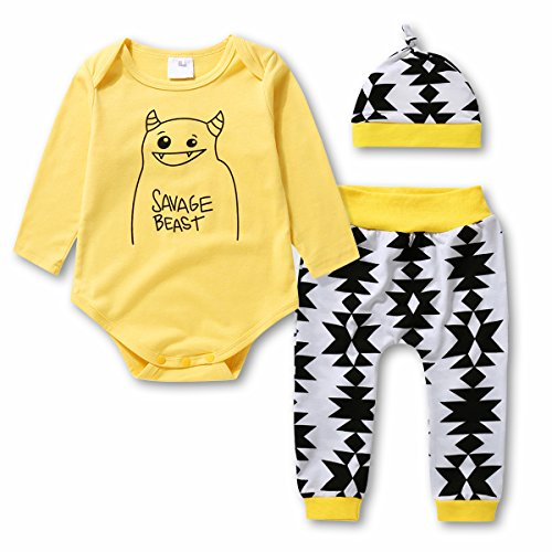 [Baby Boys Girls 3 Pcs Bodysuits & Pants & Cap Clothes Set - Infant Outfit/Pajama,  Yellow, 70(0-6] (Pirate Coat For Sale)