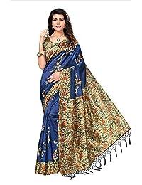 Shonaya Women`S Fancy Blue Colour Mysore Silk Printed Saree