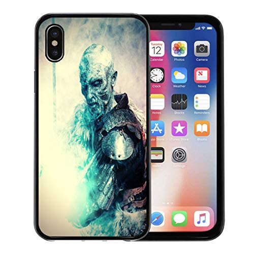 Emvency Phone Case for Apple iPhone Xs Case/iPhone X Case,White Demon Halloween Frozen Snow Covered Zombie Warrior Soft Rubber Border Decorative, Black ()