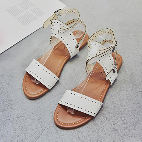 Muium Women Ladies Open Toe Flat Wedge Sandals Ankle Buckle Rome Slippers Shoes White uiZJpFeXKV