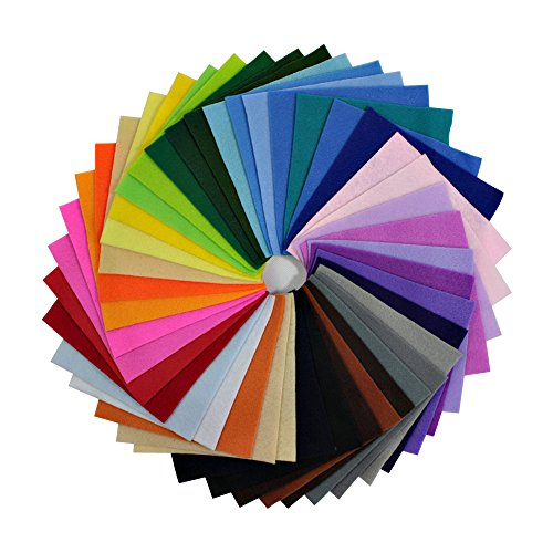 Life Glow DIY Polyester Soft Felt Fabric Squares Sheets Assorted Colors 6x6 inch for Crafts, 1.5mm Thick 42Pcs