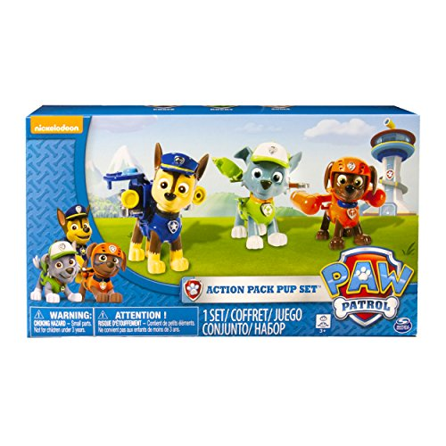 Paw Patrol Action Pack Pups 3Pk Figure Set Chase, Rocky, Zuma ()