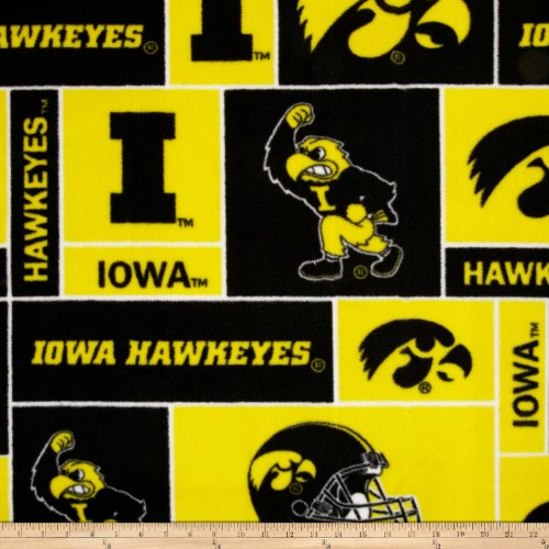 Fabric Iowa Hawkeyes (College University of Iowa Hawkeyes Print Fleece Fabric By the Yard)