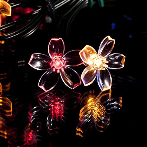50 Multi-Colour LED Flower Blossom Solar Powered Fairy Lights – Waterproof Solar Decoration String Lights with Built-in Night Sensor – for Christmas, Outdoor, Garden, Fence, Patio, Yard, Walkway
