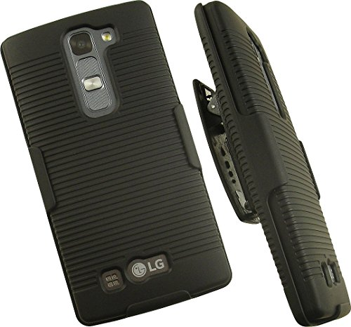 NAKEDCELLPHONE'S BLACK RIBBED RUBBERIZED HARD SHELL CASE COVER + BELT CLIP HOLSTER STAND FOR BOOST MOBILE LG VOLT-2
