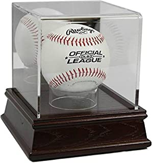 2 Used Baseball Globe Holders & Card Stand Display Case Wood & Plastic Display Cases