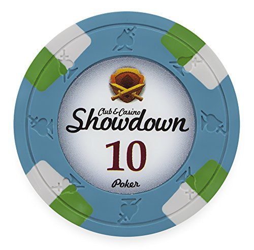 - Pack of 50 Showdown Poker Chips, Heavyweight 13.5-gram Clay Composite by Claysmith Gaming ($10 Blue)
