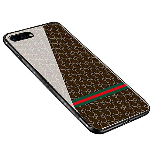 Anyos iPhone 7 Plus 8 Plus Case, Tempered Glass Pattern Painted Mirror Bumper Cover for iphone7 8plus,Deep Plaid