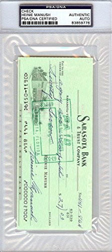 Heinie Manush Authentic Autographed Signed Check Detroit Tigers 99220 PSA/DNA Certified MLB Cut Signatures
