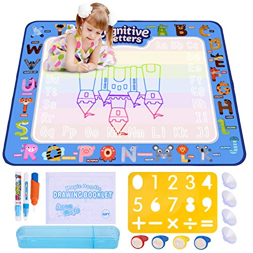 (ESEOE Doodle Mat, Aqua Magic Mat for Kids/Toddlers with 2 Magic Pens, 1 Magic Brush, 1 Molds and Drawing Accessories, Magic Water Drawing Mat for Girl & Boy Gift Age 2-12(39.4