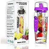 32 oz Fruit Infuser Water Bottle - BPA-Free Fruit Infusion Sports Bottle Flip Top Lid w Drinking Spout, Leak Proof, Made of Durable Tritan