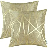 pack of 2 calitime cushion covers throw pillow cases shells both sides modern triangles geometric 18 x 18 inches gold