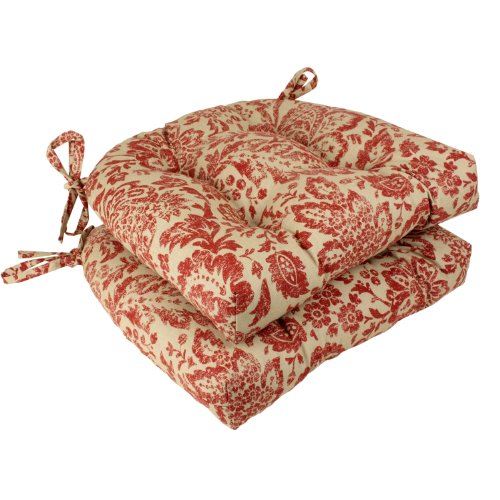 Pillow Perfect Damask Reversible Chair Pad Red Tan Set Of 2