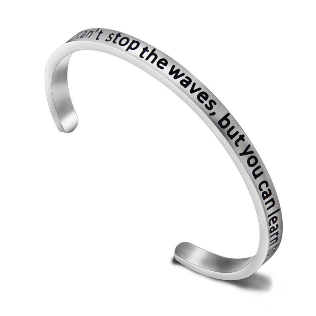 Zuo Bao Wave Ocean Cuff Bracelet You Can't Stop the Waves,But You Can Learn to Surf Beach Jewelry Gift For Her (Bangle)