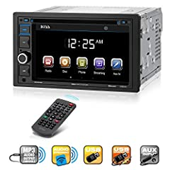 "Ramp up your music choices on your next road trip with the Boss Audio BV9364B DVD Player and 6.2"" Touchscreen Monitor. Slide in a DVD or CD, plug into the SD and USB ports or hook up your smartphone to the Auxiliary input to listen to your pl..."