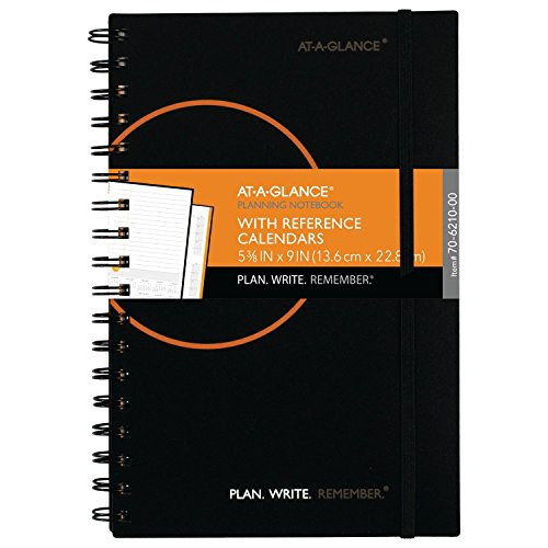 "AT-A-GLANCE Planning Notebook with Reference Calendars, Plan.Write.Remember., 5-3/8"" x 9"", Color Will Vary (70621000)"