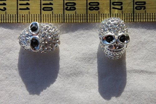 18mm Alloy Rhinestone Bead Halloween Skull Silver Color/2 Beads for Jewelry Making, Supply for DIY Beading (Pony Bead Patterns Halloween)