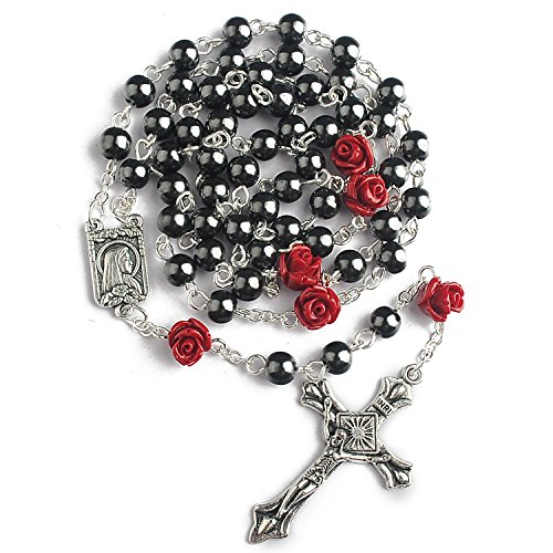 Rosary Rose (Hedi 6mm Hematite Beads with 8mm Coral Rose Glory Beads Catholic Rosary Pack in Velvet Bag)