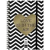 """Finocam 760040617 - Agenda (2017, de espiral, semana vista, goma elástica), color blanco y negro, diseño """"love is in the air"""""""