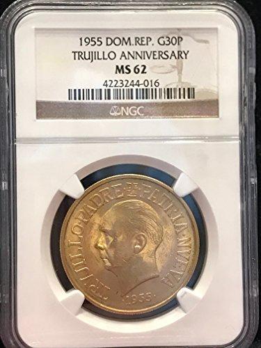 1955 Anniversary Trujillo regime Gold MS-62 -