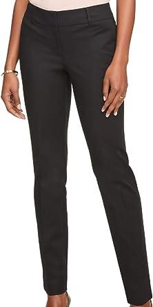 Amazon Com Ann Taylor Pantalones De Algodon Para Mujer De Ajuste Moderno Redefinido Plano Delantero 487670 Negro Clothing
