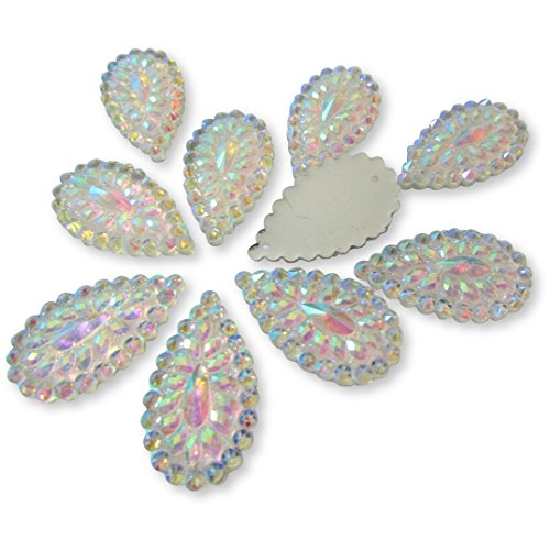 20 Pcs Silver Iridescent Flat Back Teardrop Beads Cabochons Size 20mm X 30mm by Olivia Pearl Designs