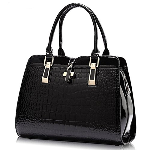 - Women's Tote Top Handle Handbags Crocodile Pattern Leather Cross-body Purse Shoulder Bags (Black)