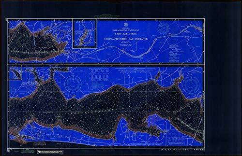 Vintography Blueprint Style 18 x 24 Art Canvas Wrap 1967 Nautical Chart West Bay Creek to Choctawhatchee Bay Entrance FL