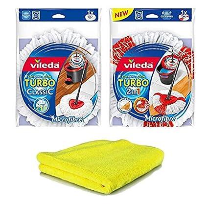 1 pieza Vileda Turbo EASYWORLD Anillo & Clean 2 in1 para cabeza y 1 pieza Vileda