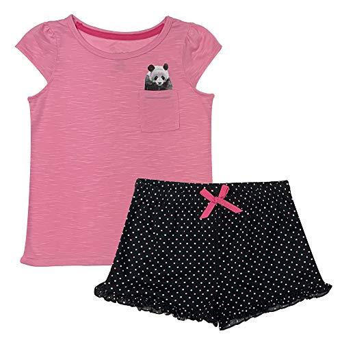 Popular Girl's Short Sleeve and Shorts Pajama Sleepwear Set - Panda - 10/12 ()