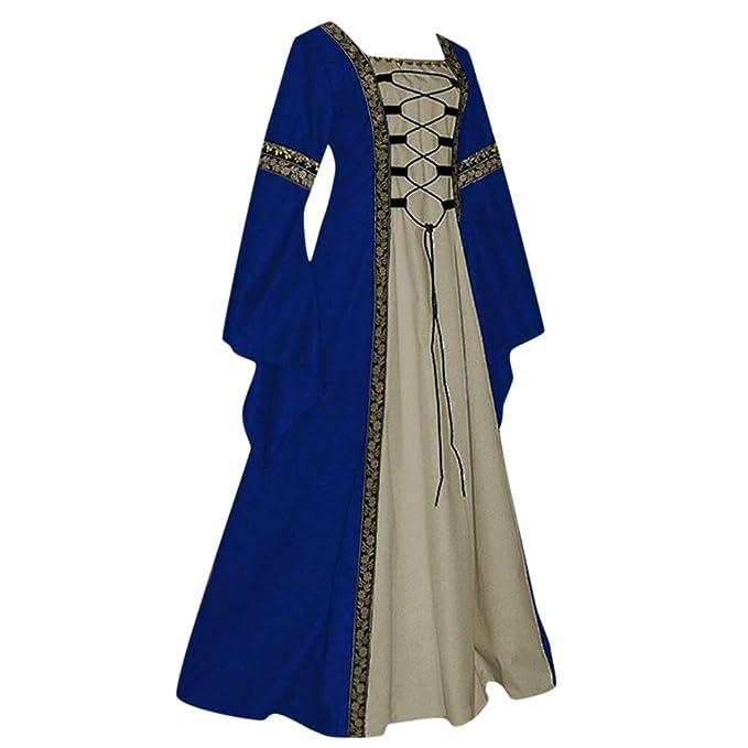 YGbuy-Damas Cuello Redondo Medieval Estilo Retro Color ...