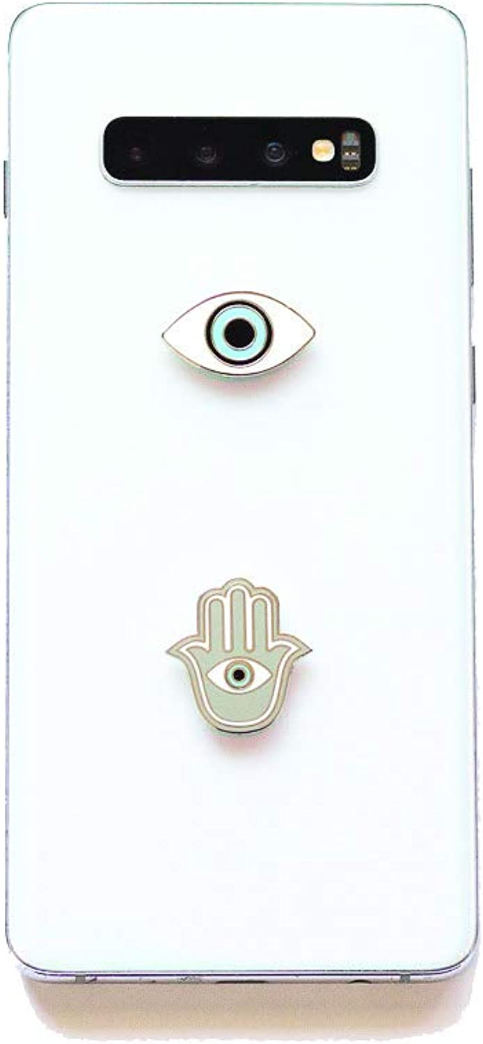 2 in 1 Hamsa & Evil Eye Protection Metal Stickers – Usable On All Phones, Laptops & Notebooks – Phone Charms – Show Gratitude & Stability – Easy To Peel Off – 1'' by 1'' & 1.5'' by 1'' Decorations