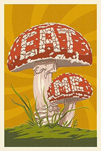 Eat Me Mushroom (9x12 Art Print, Wall Decor Travel Poster)