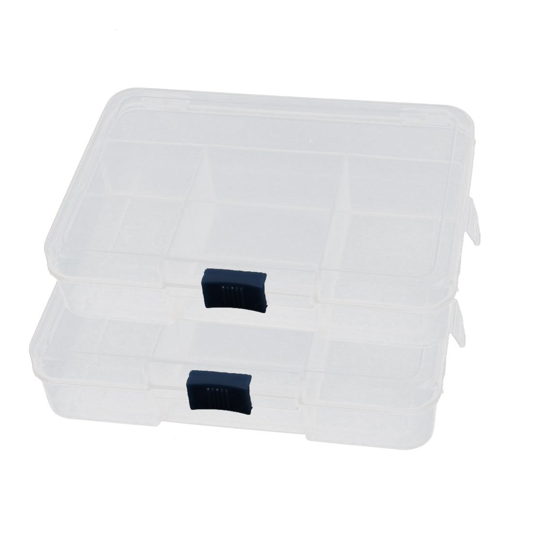 2 x Plastic 5 Components Earrings Jewelry Organizer Storage Box Holder uxcell a14100700ux0059