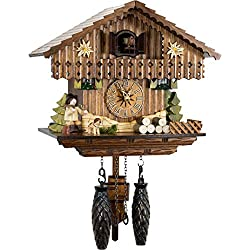 Cuckoo-Palace German Cuckoo Clock - Taking a Break - with Quartz Movement - 8.7 inches high - Black Forest Clock