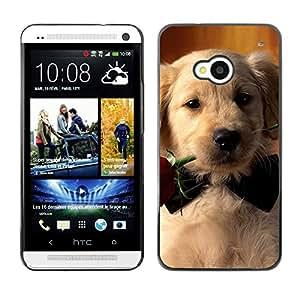 Vortex Accessory Carcasa Protectora Para HTC ONE ( M7 ) - Labrador Retriever Rose Bowtie Puppy Dog -