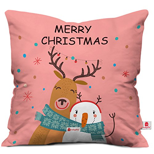 indibni Merry Christmas Quote Snowman and Reindeer Hug Showing The Festival Fun and Frolic Pink 18