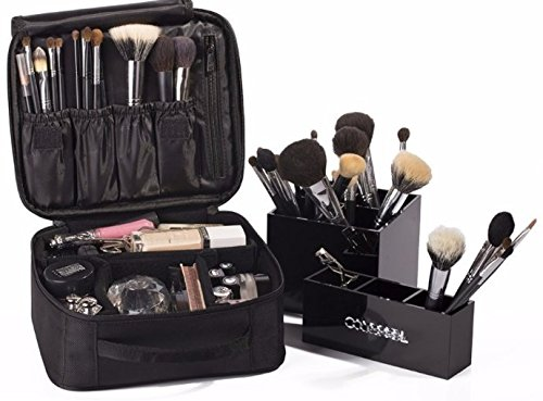 Makeup Bag Cosmetics Organizer Case With Brush Inserts & Dividers - Perfect For Travel
