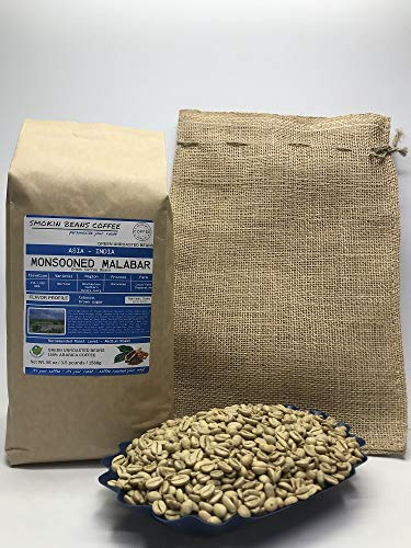 3.5 Pounds - Asian - India Monsooned Malabar - Unroasted Arabica Green Coffee Beans - Region Mysore Coorg - Altitude 914-1828MASL - Heirloom - Drying/Milling Process Is Monsooned - Includes Burlap Bag