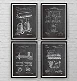Beer Patent Art Prints - Set Of 4 - Brewing Gift Bar Fathers Science Vintage Making Blueprint Wall Dads Pub Poster - Frame Not Included