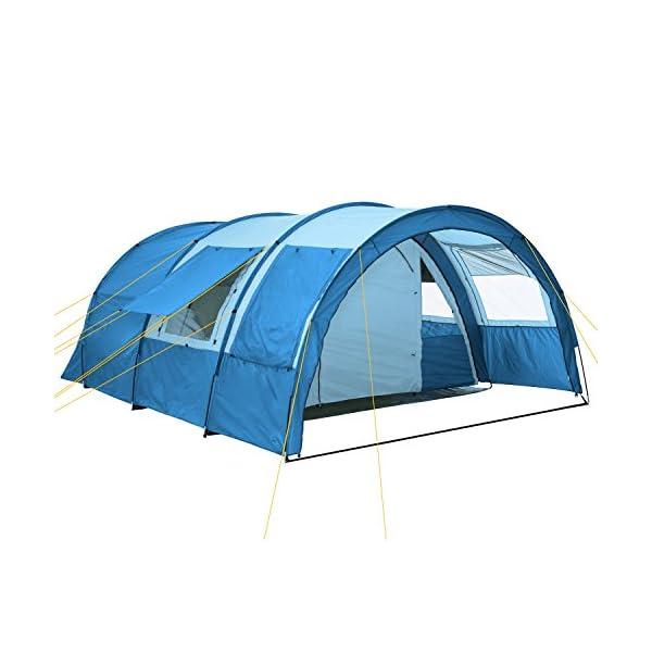 51rvVlUNeOL CampFeuer Tunnelzelt Multi Zelt für 4 Personen | riesiger Vorraum, 5000 mm Wassersäule | mit Bodenplane und versetzbarer…