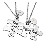 Zysta Stainless Steel Necklace Pendant Jigsaw Puzzles You are My/Missing Piece Couples Lovers Boyfriend Girlfriend Custom Name Message Heart (Engraving)
