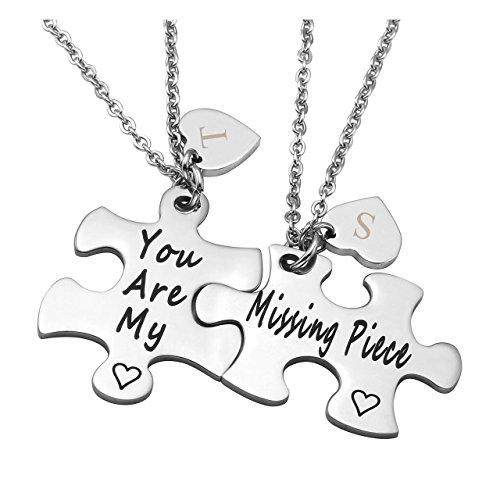 Zysta Stainless Steel Necklace Pendant Jigsaw Puzzles You are My/Missing Piece Couples Lovers Boyfriend Girlfriend Custom Name Message Heart (Engraving) by Zysta