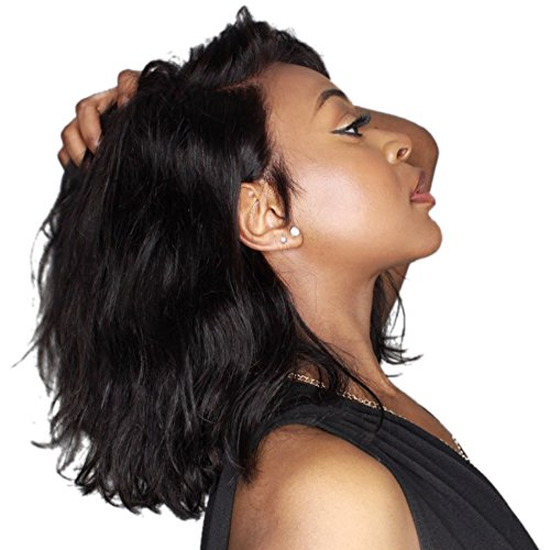 Beauty : VGTE Hair Brazilian Human Hair Wigs Glueless Short Bob Lace Front Wigs Virgin Human Hair Natural Wave Wigs with Baby Hair for Black Women (08inch)