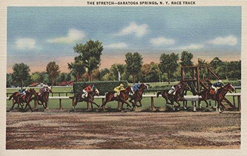 Saratoga Springs, NY - Horse Race Track Scene (12x18 Collectible Art Print, Wall Decor Travel (Saratoga Race)