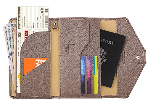 Cushioned Travel Bag - Zoppen Mulit-purpose Rfid Blocking Travel Passport Wallet (Ver.4) Tri-fold Document Organizer Holder, Gold Bronze